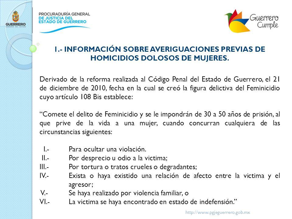 Derivado de la reforma realizada al Código Penal del Estado de Guerrero, el 21 de diciembre de 2010, fecha en la cual se creó la figura delictiva del
