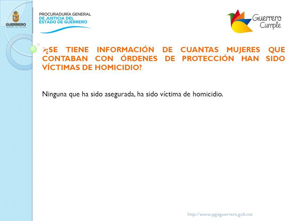http://www.pgjeguerrero.gob.mx ¿SE TIENE INFORMACIÓN DE CUANTAS MUJERES QUE CONTABAN CON ÓRDENES DE PROTECCIÓN HAN SIDO VÍCTIMAS DE HOMICIDIO? Ninguna