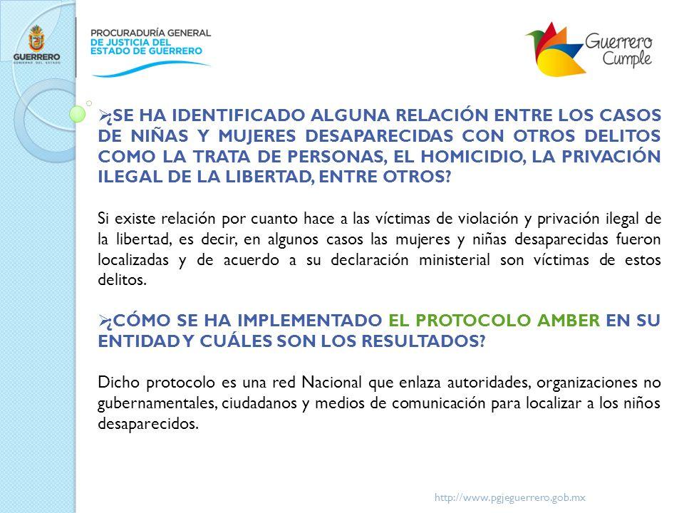 http://www.pgjeguerrero.gob.mx ¿SE HA IDENTIFICADO ALGUNA RELACIÓN ENTRE LOS CASOS DE NIÑAS Y MUJERES DESAPARECIDAS CON OTROS DELITOS COMO LA TRATA DE