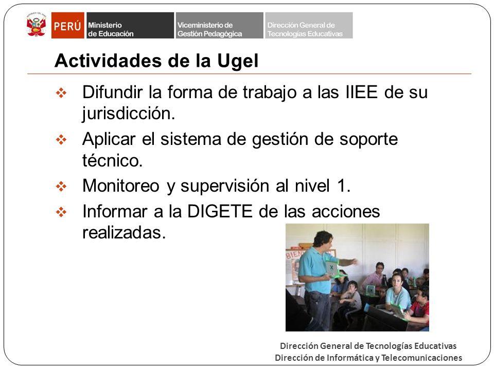 Dirección General de Tecnologías Educativas Dirección de Informática y Telecomunicaciones Actividades de la Ugel Difundir la forma de trabajo a las IIEE de su jurisdicción.