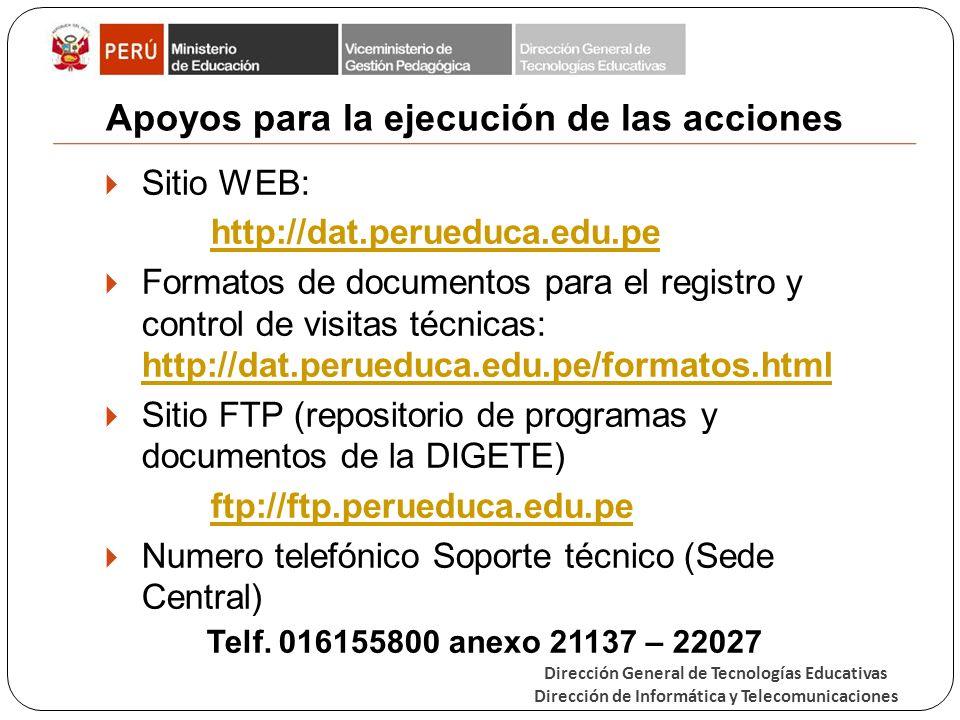 Dirección General de Tecnologías Educativas Dirección de Informática y Telecomunicaciones Apoyos para la ejecución de las acciones Sitio WEB: http://dat.perueduca.edu.pe Formatos de documentos para el registro y control de visitas técnicas: http://dat.perueduca.edu.pe/formatos.html http://dat.perueduca.edu.pe/formatos.html Sitio FTP (repositorio de programas y documentos de la DIGETE) ftp://ftp.perueduca.edu.pe Numero telefónico Soporte técnico (Sede Central) Telf.