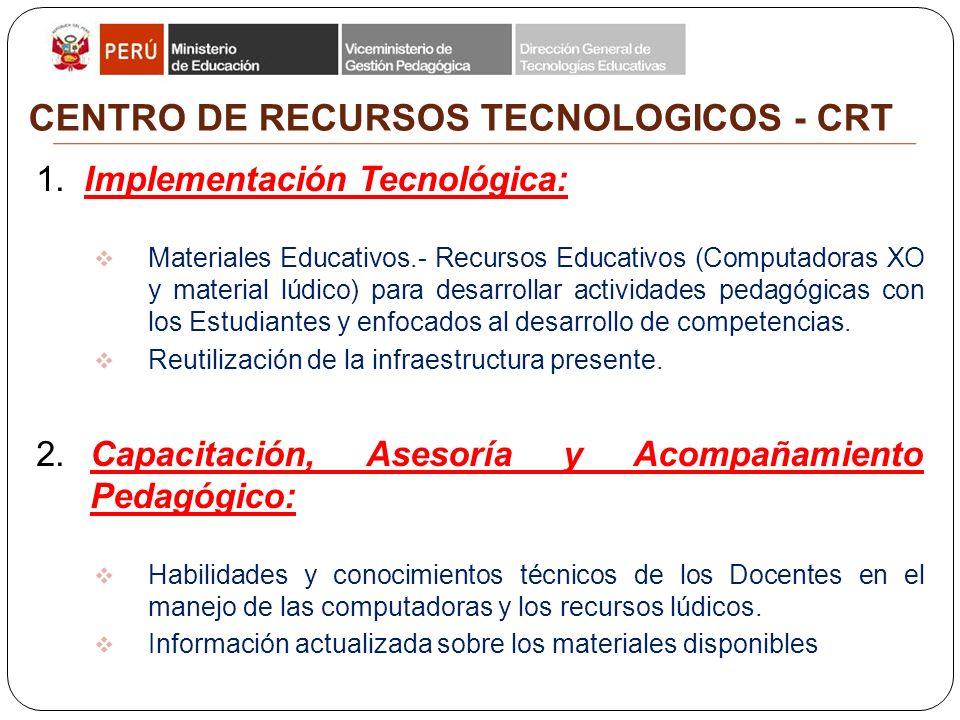 Dirección General de Tecnologías Educativas Dirección de Informática y Telecomunicaciones CENTRO DE RECURSOS TECNOLOGICOS - CRT 1.