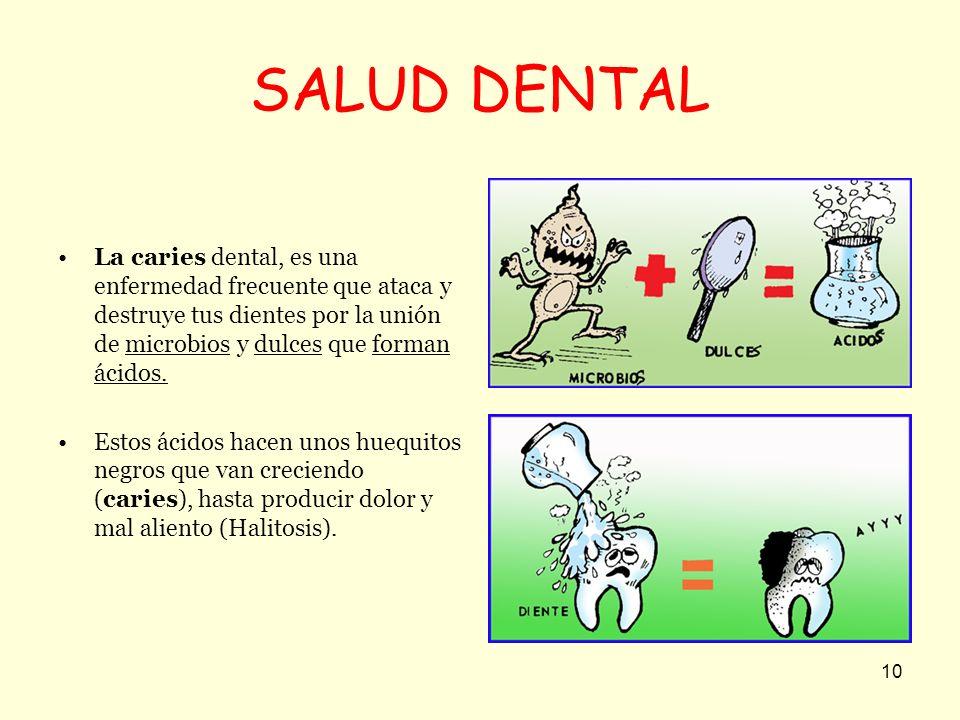 10 SALUD DENTAL La caries dental, es una enfermedad frecuente que ataca y destruye tus dientes por la unión de microbios y dulces que forman ácidos. E