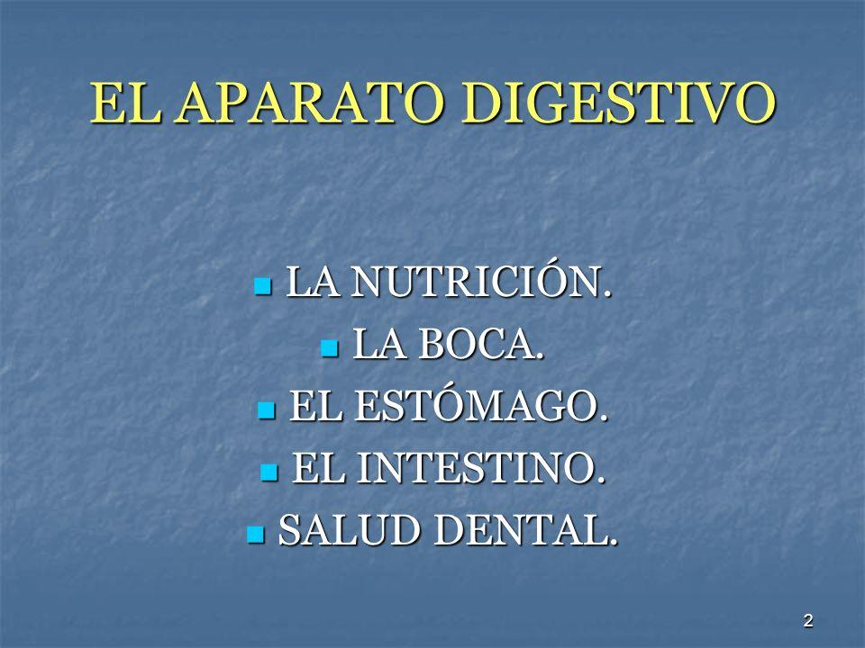 2 EL APARATO DIGESTIVO LA NUTRICIÓN. LA NUTRICIÓN. LA BOCA. LA BOCA. EL ESTÓMAGO. EL ESTÓMAGO. EL INTESTINO. EL INTESTINO. SALUD DENTAL. SALUD DENTAL.