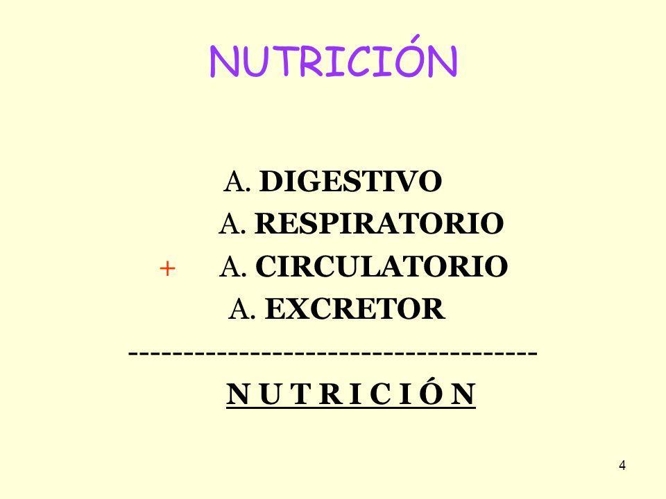 4 NUTRICIÓN A. DIGESTIVO A. RESPIRATORIO + A. CIRCULATORIO A. EXCRETOR ------------------------------------- N U T R I C I Ó N