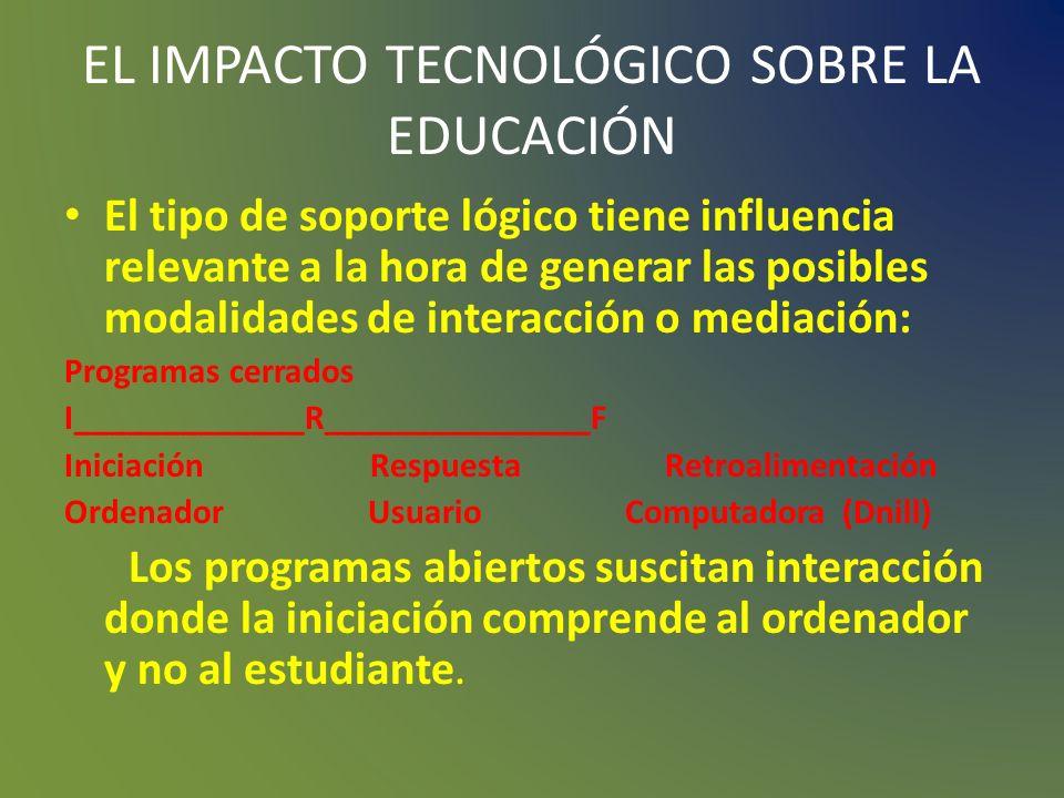 EL IMPACTO TECNOLÓGICO SOBRE LA EDUCACIÓN La tecnología tiene un impacto positivo y significativo en el rendimiento del estudiante. Ejerce un efecto p