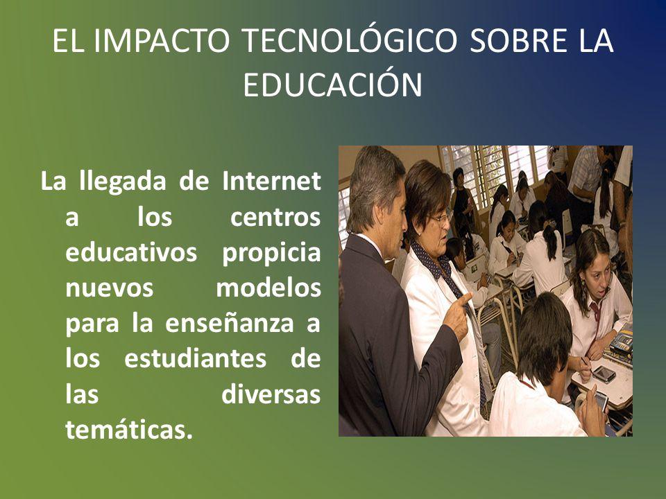 EL IMPACTO TECNOLÓGICO SOBRE LA EDUCACIÓN El tipo de soporte lógico tiene influencia relevante a la hora de generar las posibles modalidades de intera