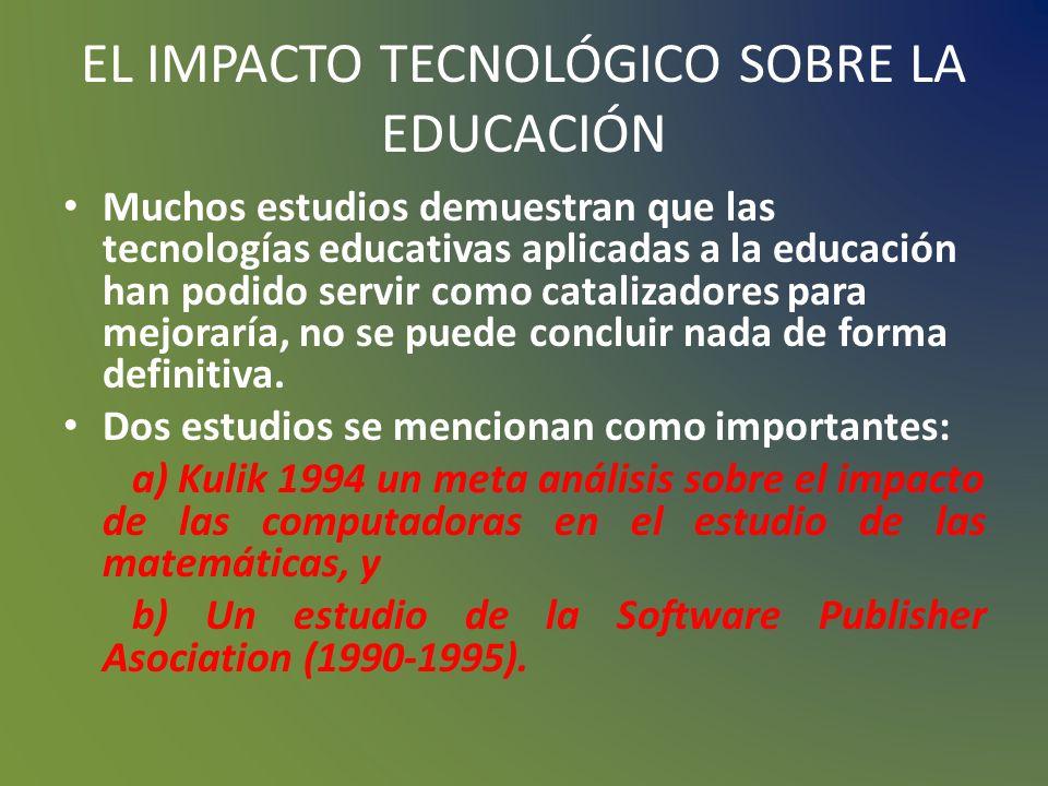 EL IMPACTO TECNOLÓGICO SOBRE LA EDUCACIÓN El docente no debe ser un mero transmisor de la información y del conocimiento, sino que debe ofrecer desafí