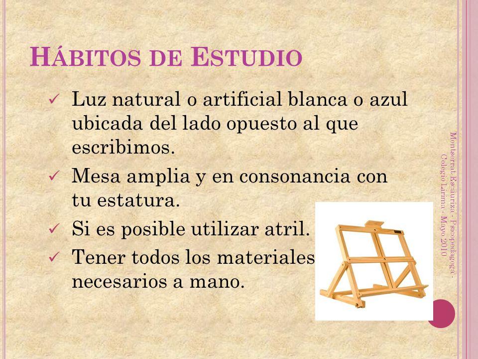 H ÁBITOS DE E STUDIO Luz natural o artificial blanca o azul ubicada del lado opuesto al que escribimos. Mesa amplia y en consonancia con tu estatura.