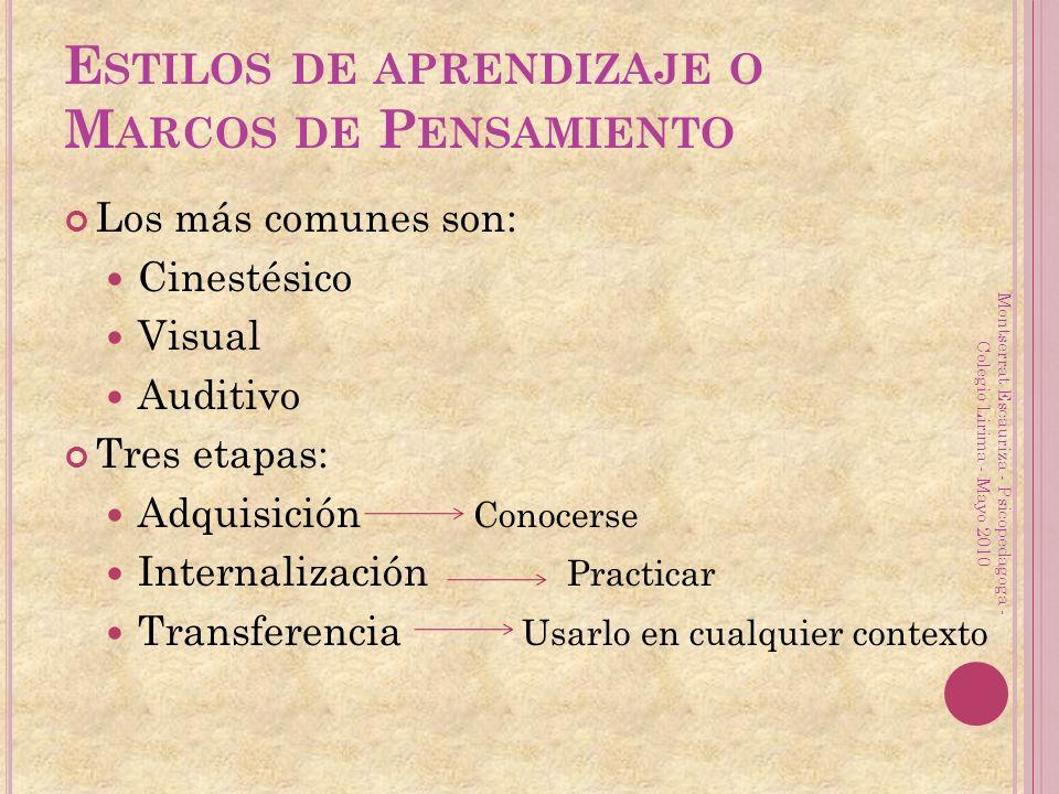 E STILOS DE APRENDIZAJE O M ARCOS DE P ENSAMIENTO Los más comunes son: Cinestésico Visual Auditivo Tres etapas: Adquisición Conocerse Internalización