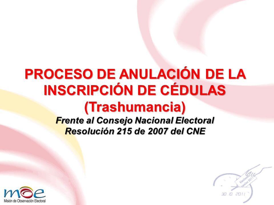 PROCESO DE ANULACIÓN DE LA INSCRIPCIÓN DE CÉDULAS (Trashumancia) Frente al Consejo Nacional Electoral Resolución 215 de 2007 del CNE