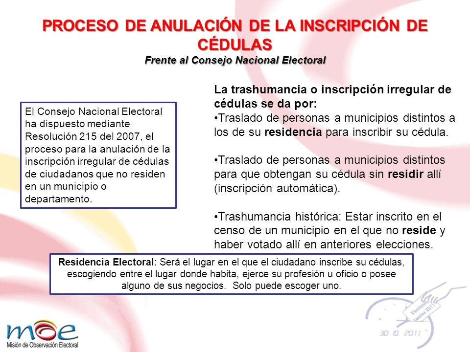 Competencia El Consejo Nacional Electoral es competente para iniciar de oficio o a petición ciudadana las investigaciones.