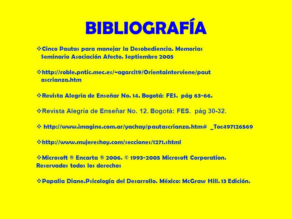 BIBLIOGRAFÍA Cinco Pautas para manejar la Desobediencia. Memorias Seminario Asociación Afecto. Septiembre 2005 http://roble.pntic.mec.es/~agarci19/Ori
