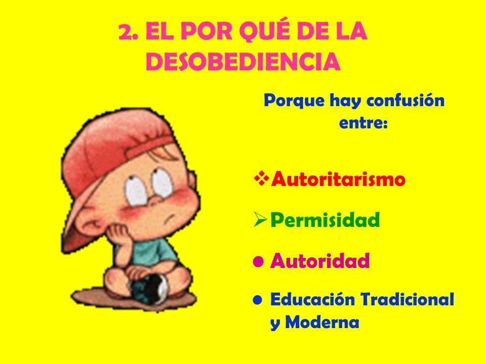 2. EL POR QUÉ DE LA DESOBEDIENCIA Porque hay confusión entre: Autoritarismo Permisidad Autoridad Educación Tradicional y Moderna