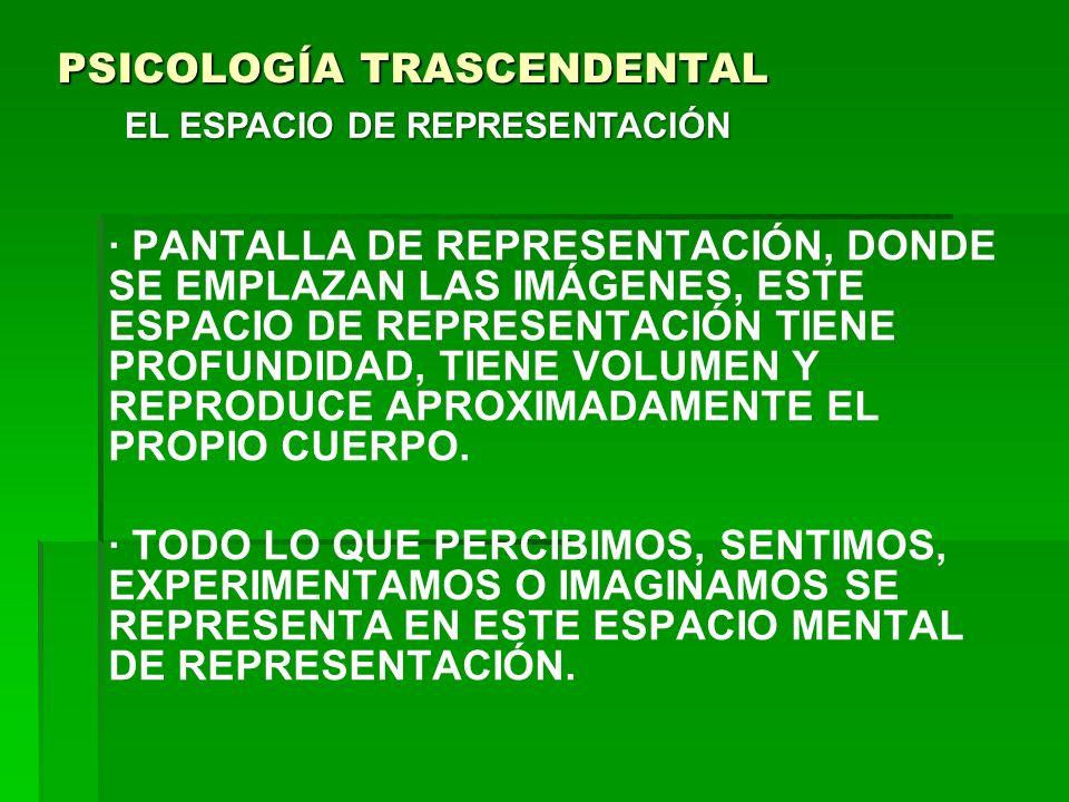 PSICOLOGÍA TRASCENDENTAL · PANTALLA DE REPRESENTACIÓN, DONDE SE EMPLAZAN LAS IMÁGENES, ESTE ESPACIO DE REPRESENTACIÓN TIENE PROFUNDIDAD, TIENE VOLUMEN