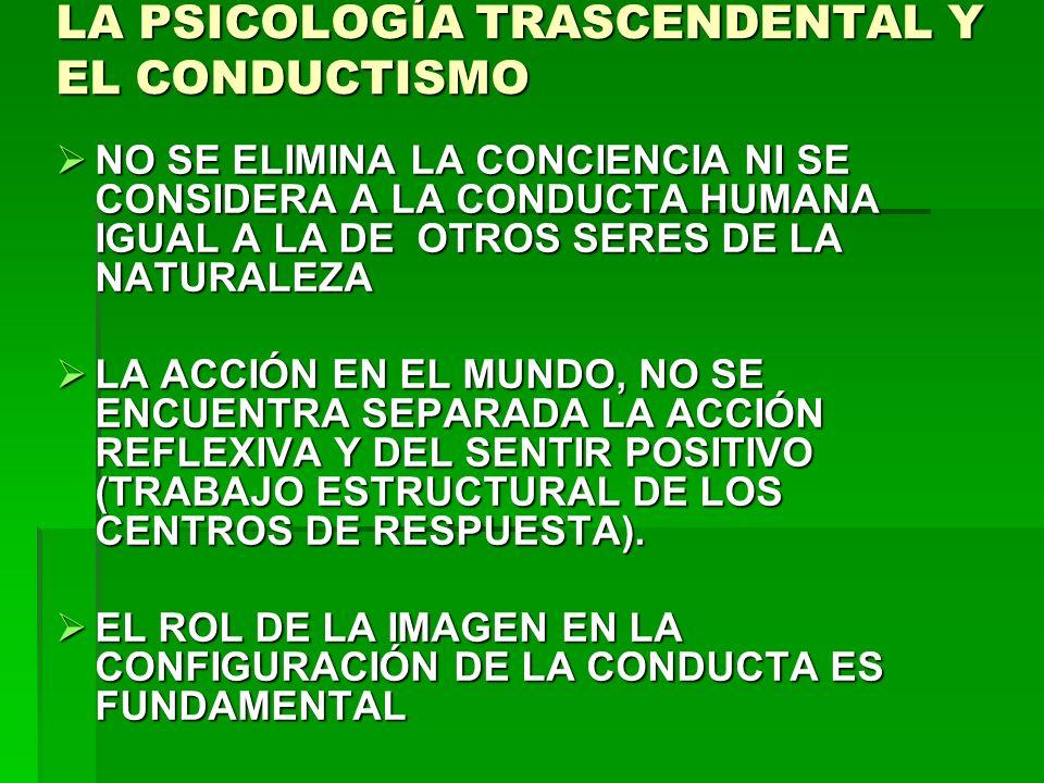 LA PSICOLOGÍA TRASCENDENTAL Y EL CONDUCTISMO NO SE ELIMINA LA CONCIENCIA NI SE CONSIDERA A LA CONDUCTA HUMANA IGUAL A LA DE OTROS SERES DE LA NATURALE