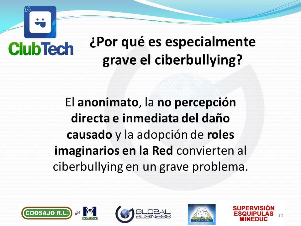 El anonimato, la no percepción directa e inmediata del daño causado y la adopción de roles imaginarios en la Red convierten al ciberbullying en un gra