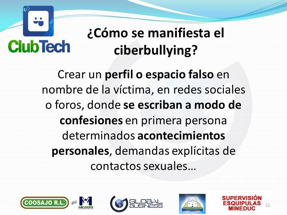 Crear un perfil o espacio falso en nombre de la víctima, en redes sociales o foros, donde se escriban a modo de confesiones en primera persona determi