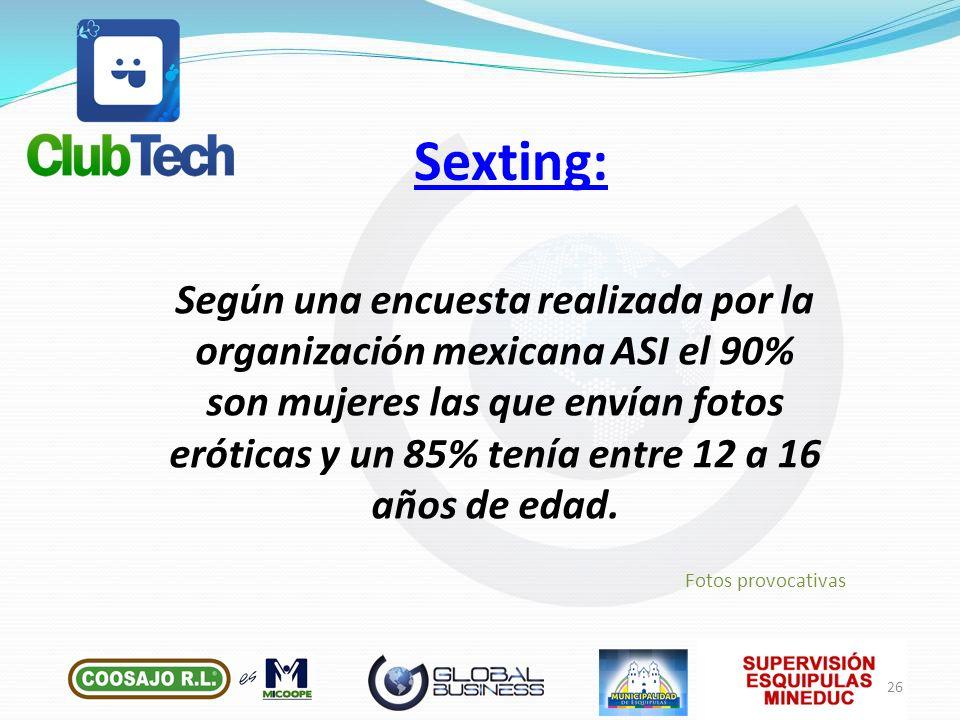 Según una encuesta realizada por la organización mexicana ASI el 90% son mujeres las que envían fotos eróticas y un 85% tenía entre 12 a 16 años de ed