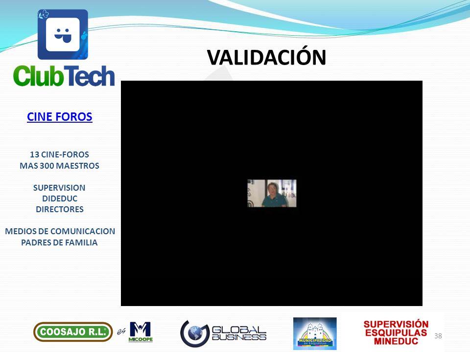 VALIDACIÓN CINE FOROS 13 CINE-FOROS MAS 300 MAESTROS SUPERVISION DIDEDUC DIRECTORES MEDIOS DE COMUNICACION PADRES DE FAMILIA 38