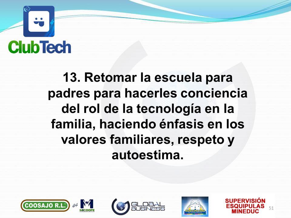 13. Retomar la escuela para padres para hacerles conciencia del rol de la tecnología en la familia, haciendo énfasis en los valores familiares, respet