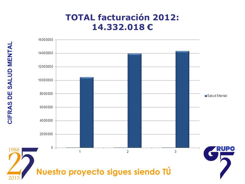 CIFRAS DE SALUD MENTAL TOTAL facturación 2012: 14.332.018 Nuestro proyecto sigues siendo TÚ
