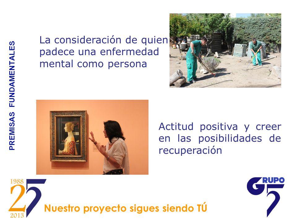 PREMISAS FUNDAMENTALES La consideración de quien padece una enfermedad mental como persona Actitud positiva y creer en las posibilidades de recuperaci