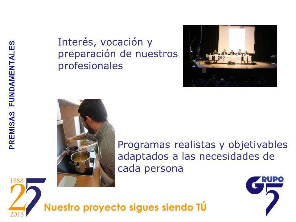 PREMISAS FUNDAMENTALES Interés, vocación y preparación de nuestros profesionales Programas realistas y objetivables adaptados a las necesidades de cad