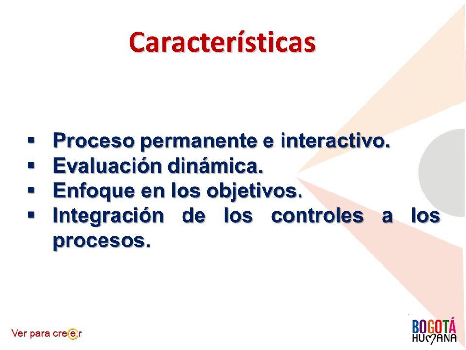 Características Proceso permanente e interactivo. Proceso permanente e interactivo. Evaluación dinámica. Evaluación dinámica. Enfoque en los objetivos