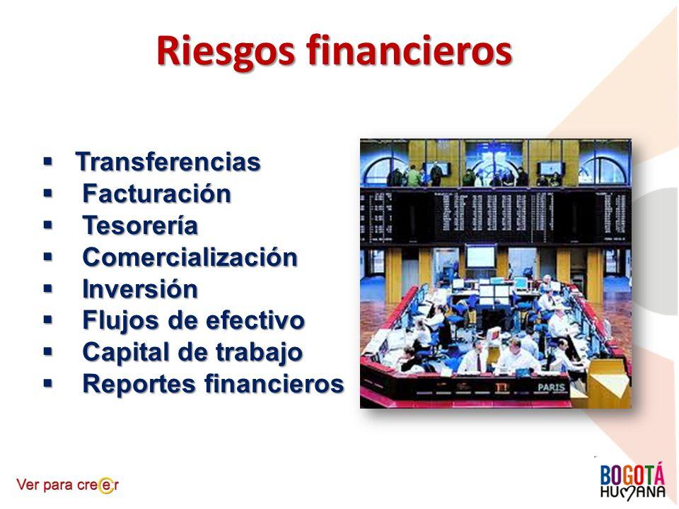 Riesgos financieros Transferencias Transferencias Facturación Facturación Tesorería Tesorería Comercialización Comercialización Inversión Inversión Fl