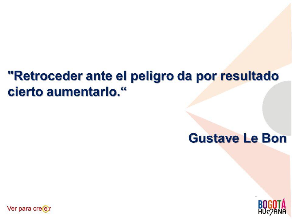 Retroceder ante el peligro da por resultado cierto aumentarlo. Gustave Le Bon