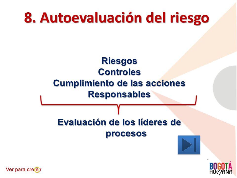 8. Autoevaluación del riesgo RiesgosControles Cumplimiento de las acciones Responsables Evaluación de los líderes de procesos