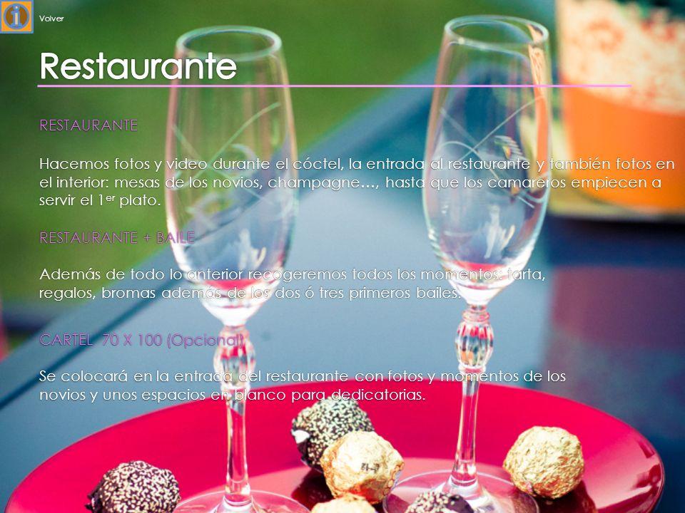 RESTAURANTE Hacemos fotos y video durante el cóctel, la entrada al restaurante y también fotos en el interior: mesas de los novios, champagne…, hasta que los camareros empiecen a servir el 1 er plato.
