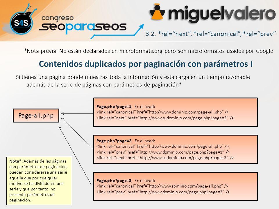 3.2. *rel=next, *rel=canonical, *rel=prev Contenidos duplicados por paginación con parámetros I Si tienes una página donde muestras toda la informació