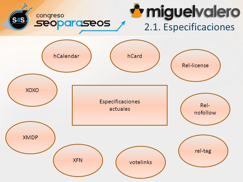 2.1. Especificaciones XFN Especificaciones actuales XOXO XMDP hCalendar Rel- nofollow votelinks hCard rel-tag Rel-license