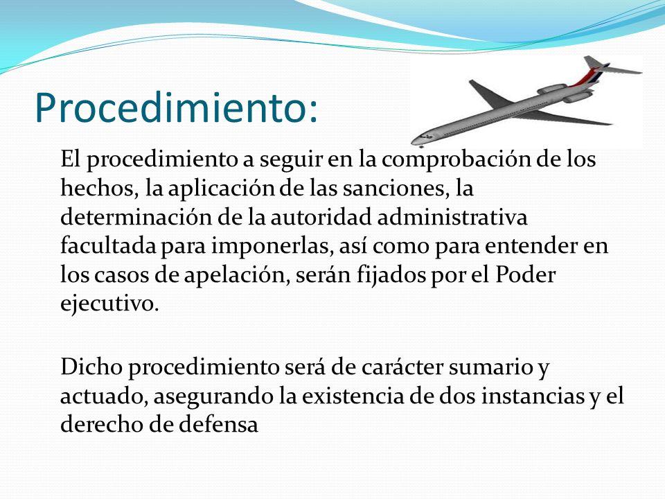 Procedimiento: El procedimiento a seguir en la comprobación de los hechos, la aplicación de las sanciones, la determinación de la autoridad administra