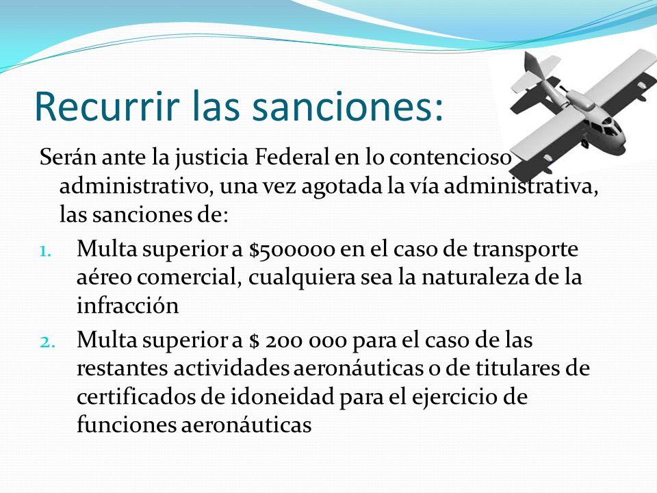 Recurrir las sanciones: Serán ante la justicia Federal en lo contencioso administrativo, una vez agotada la vía administrativa, las sanciones de: 1. M