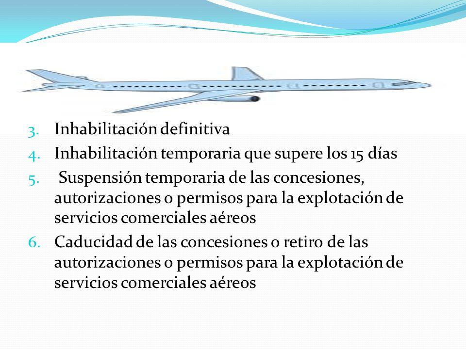 3. Inhabilitación definitiva 4. Inhabilitación temporaria que supere los 15 días 5. Suspensión temporaria de las concesiones, autorizaciones o permiso
