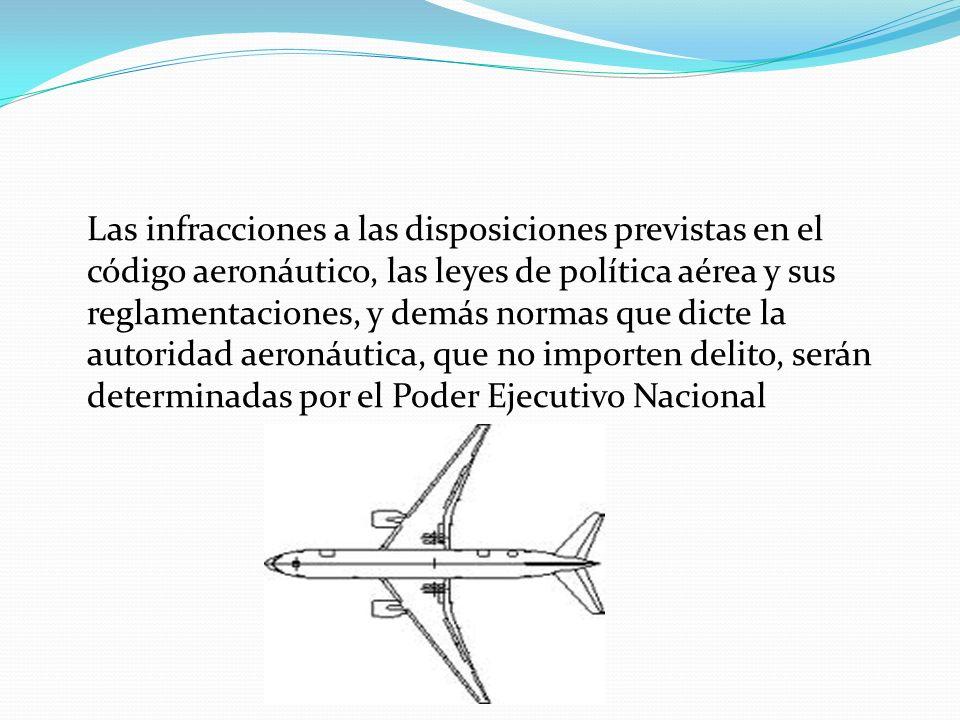 Las infracciones a las disposiciones previstas en el código aeronáutico, las leyes de política aérea y sus reglamentaciones, y demás normas que dicte