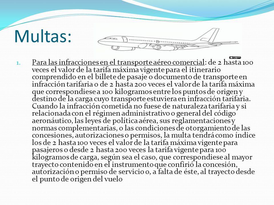 Multas: 1. Para las infracciones en el transporte aéreo comercial: de 2 hasta 100 veces el valor de la tarifa máxima vigente para el itinerario compre