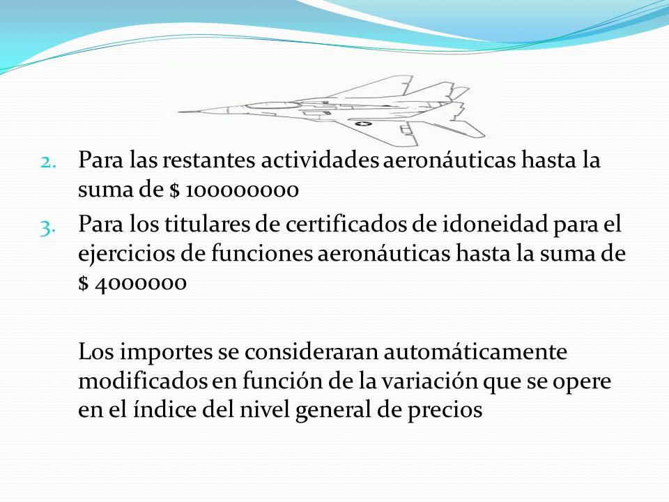 2. Para las restantes actividades aeronáuticas hasta la suma de $ 100000000 3. Para los titulares de certificados de idoneidad para el ejercicios de f