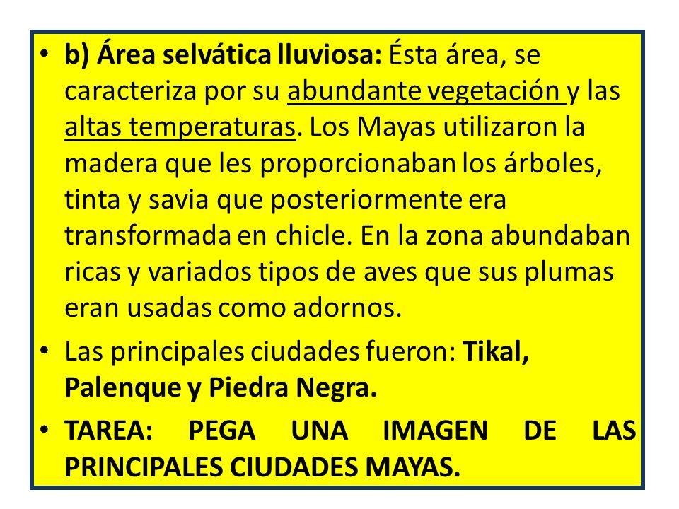 b) Área selvática lluviosa: Ésta área, se caracteriza por su abundante vegetación y las altas temperaturas. Los Mayas utilizaron la madera que les pro
