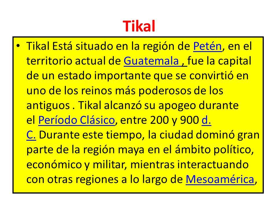 Tikal Tikal Está situado en la región de Petén, en el territorio actual de Guatemala, fue la capital de un estado importante que se convirtió en uno d