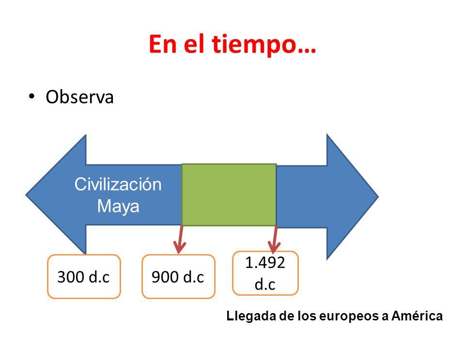 En el tiempo… Observa Civilización Maya 300 d.c900 d.c 1.492 d.c Llegada de los europeos a América