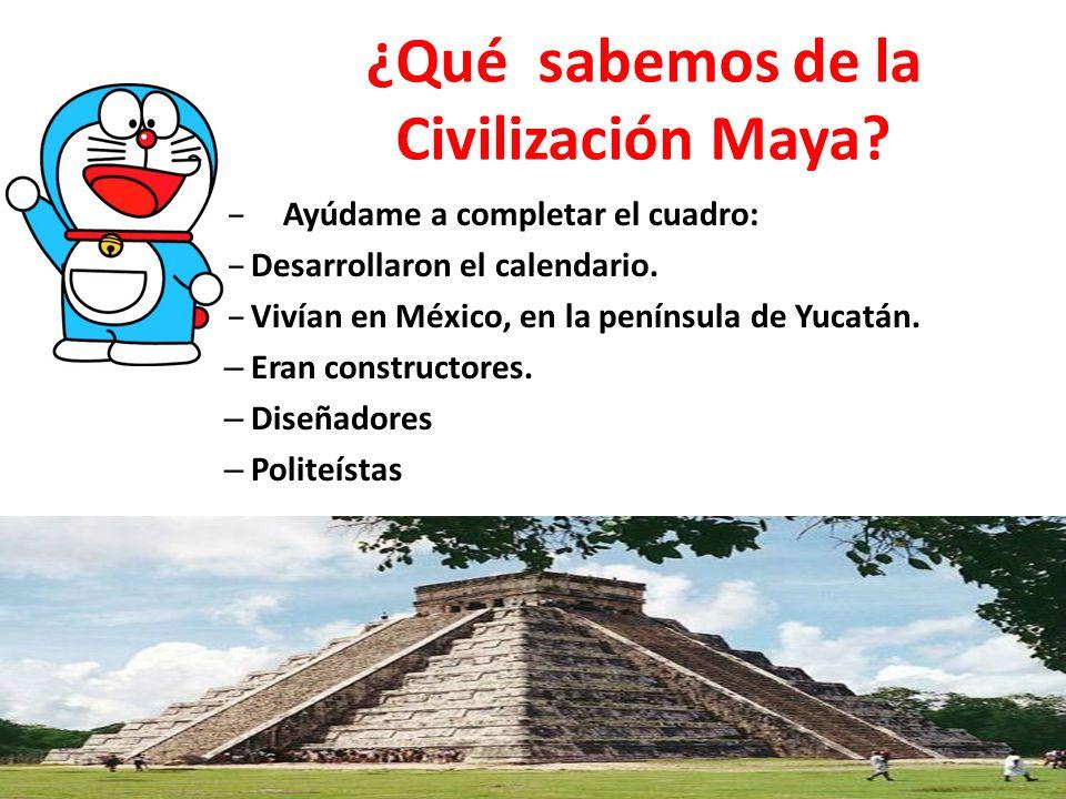 ¿Qué sabemos de la Civilización Maya? – Ayúdame a completar el cuadro: – Desarrollaron el calendario. – Vivían en México, en la península de Yucatán.