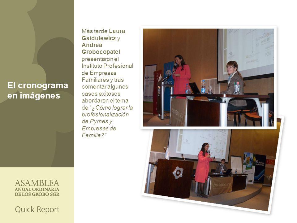 El cronograma en imágenes Más tarde Laura Gaidulewicz y Andrea Grobocopatel presentaron el Instituto Profesional de Empresas Familiares y tras comentar algunos casos exitosos abordaron el tema de ¿Cómo lograr la profesionalización de Pymes y Empresas de Familia