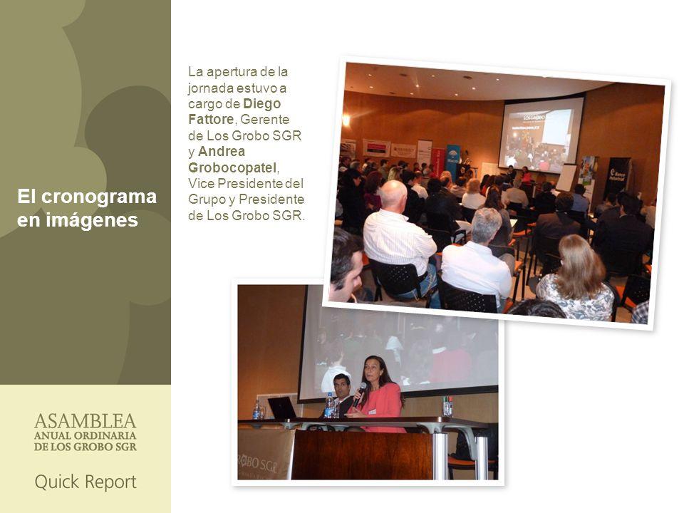 El cronograma en imágenes La apertura de la jornada estuvo a cargo de Diego Fattore, Gerente de Los Grobo SGR y Andrea Grobocopatel, Vice Presidente del Grupo y Presidente de Los Grobo SGR.