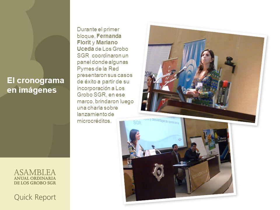 El cronograma en imágenes Durante el primer bloque, Fernanda Florit y Mariano Uceda de Los Grobo SGR coordinaron un panel donde algunas Pymes de la Red presentaron sus casos de éxito a partir de su incorporación a Los Grobo SGR, en ese marco, brindaron luego una charla sobre lanzamiento de microcréditos.
