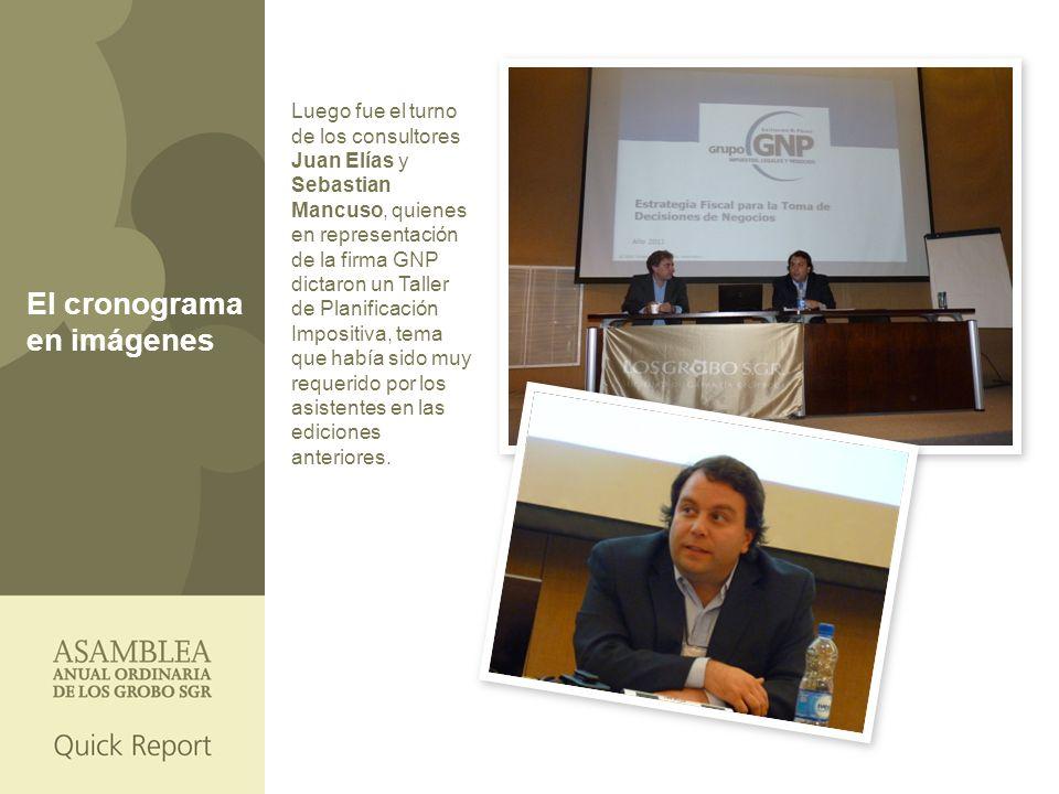Luego fue el turno de los consultores Juan Elías y Sebastian Mancuso, quienes en representación de la firma GNP dictaron un Taller de Planificación Impositiva, tema que había sido muy requerido por los asistentes en las ediciones anteriores.