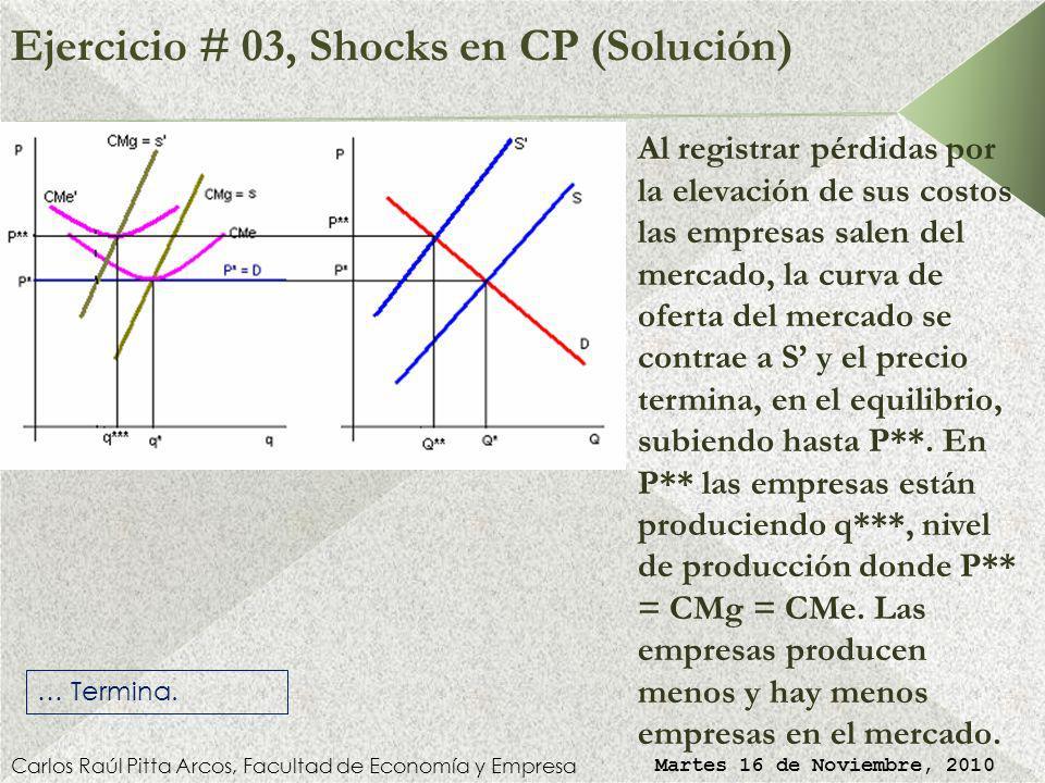 Ejercicio # 03, Shocks en CP (Solución) Carlos Raúl Pitta Arcos, Facultad de Economía y Empresa Martes 16 de Noviembre, 2010 En el largo plazo algunas